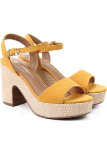 Sandália Via Marte Salto Grosso Feminina - Feminino-Amarelo