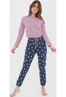 Pijama Hering Estampado Azul-Marinho/Rosa