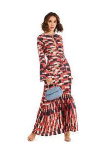2290d7e050 Morena Rosa. Vestido Decote Redondo Decote V Midi Morena Rosa Vermelho Rosa  Babado Com