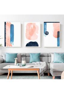 Quadro 60X120Cm Abstrato Nórdico Akuarella Moldura Branca Sem Vidro Decorativo Interiores