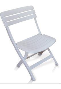 Cadeira Plástica Dobrável Ripada Branca - Antares