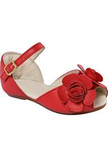 Sapatilha Peep Toe Em Couro Com Flor- Vermelhakimey