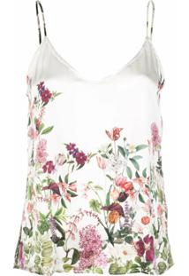 Madison.Maison Lena Floral-Print Silk Top - Branco