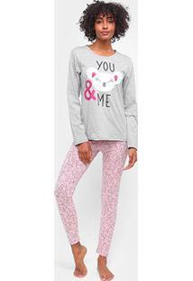 Pijama Three Hands You & Me Longo Feminino - Feminino-Mescla