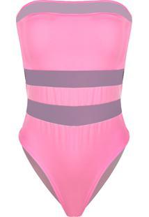 Body Outletdri Suplex Tomara Que Caia Detalhe Tule Triplo Frontal Rosa Neon