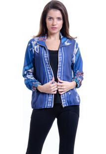 Jaqueta Bomber 101 Resort Wear Crepe Estampada Lenã§O Azul - Azul - Feminino - Dafiti