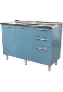 Balcão De Cozinha Play Com Pia 2 Pt 3 Gv Azul