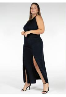 Vestido Longo Preto Com Fendas Plus Size