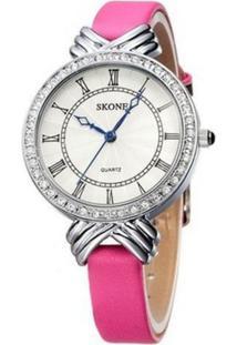 Relógio Skone Analógico 9092L Rosa
