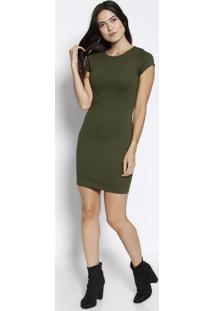 Vestido Com Bordado Da Marca- Verde Militarjavali
