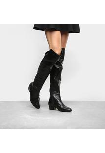 Bota Couro Over The Knee Shoestock Neoprene Feminina
