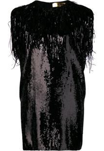 Msgm Vestido Reto De Paetês - Preto