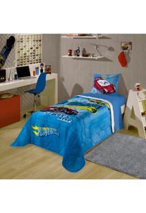 Edredom Solteiro Infantil Lepper Hot Wheels Azul E Amarelo