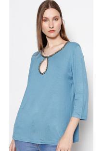 Blusa Com Recorte Vazado & Pedrarias - Azul Clarolança Perfume