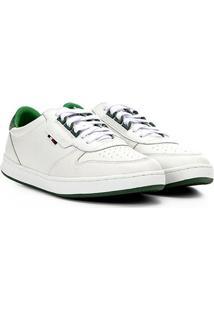 Tênis Couro Tommy Hilfiger Hoxton Masculino - Masculino-Branco+Verde