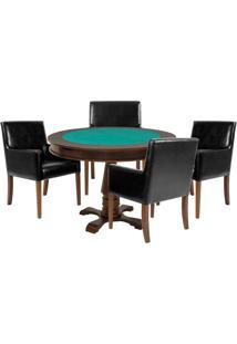 Mesa De Jogos Carteado Victoria Redonda Tampo Reversível Imbuia Com 4 Cadeiras Liverpool Corino Preto Liso - Gran Belo