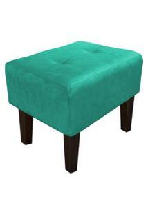Puff Decorativo Livia Pés Chanfrado Suede Verde Turquesa - D'Rossi.