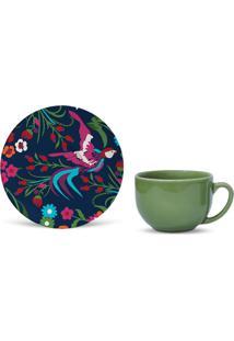Xícara De Chá Com Pires Lakshmi Colorida 9,3X15,5X15,5 Cm