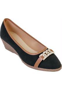 Sapato Anabela Preto Com Detalhe Dourado