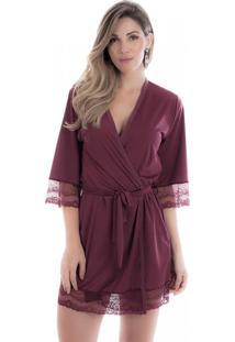 Robe Feminino Em Microfibra Vinho Diário Íntimo