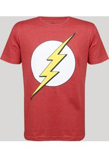 Camiseta Masculina The Flash Manga Curta Gola Careca Vermelha