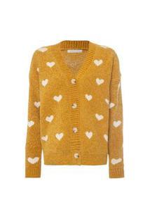 Cardigan Facinelli Tricot Corações Amarelo Amarelo