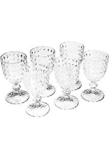 Conjunto 6 Taças Para Vinho De Vidro Bico De Abacaxi Diamant 245Ml Bon Gourmet