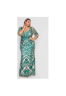 Vestido Almaria Plus Size Pianeta Longo Tule Bordado Verde