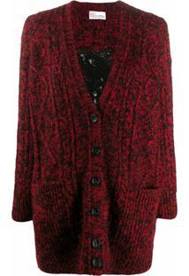 Red Valentino Cardigan Com Bordado - Vermelho