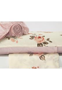 Jogo De Cama Monterey Solteiro 3 Peças Lindo Floral Rosê