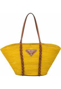Prada Bolsa Tote De Palha - Amarelo