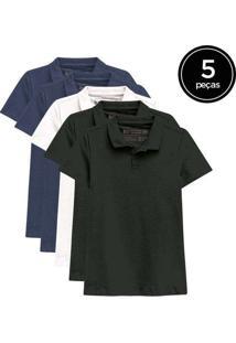 Kit De 5 Camisas Polo Femininas De Várias Cores Az