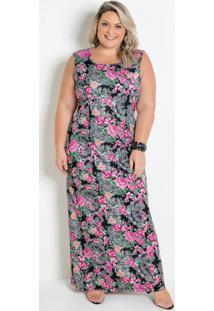 Vestido Longo Floral Com Amarração Plus Size