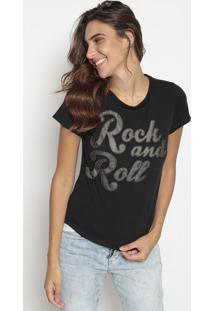 "Blusa ""Rock And Roll""- Preta- Cavallaricavalari"