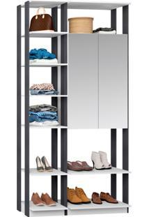 Guarda-Roupa Solteiro Modulado Clothes I Com Espelho 2 Pt Branco E Espresso