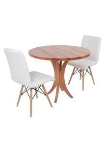 Conjunto Mesa De Jantar Tampo De Madeira 90Cm Com 2 Cadeiras Gomos - Branco