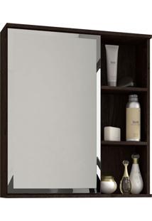 Espelho Para Banheiro C/ 1 Porta E 1 Prateleira Treviso - Mgm - Café
