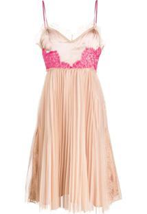 Pinko Vestido Mini Com Pregas Contrastantes - Neutro