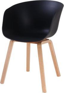 Cadeira Com Bracos Dino Preta Pes Madeira - 50063 Sun House