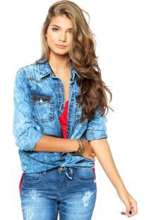 Camisa Jeans Cantão Lavagem Azul