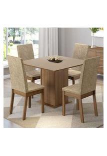 Conjunto Sala De Jantar Madesa Madri Mesa Tampo De Madeira Com 4 Cadeiras Rustic/Crema/Imperial