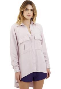 Camisa Rosa Chá Luiza Crepe Roxo Feminina (Iris, M)