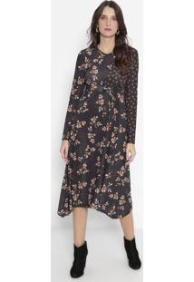 Vestido Mídi Floral - Preto & Laranja - Wool Linewool Line