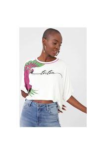 Camiseta Cropped Triton Arara Branca
