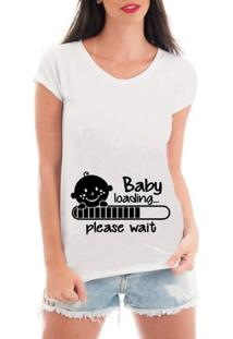 T-Shirt Criativa Urbana Gestante Bebe Carregando - Feminino-Branco