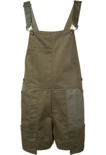 Monse Buckled Strap Dungaree Shorts - Verde