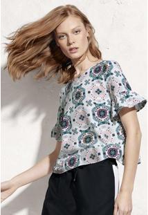 Blusa Estampada Em Tecido De Viscose Com Fechamento De Botão