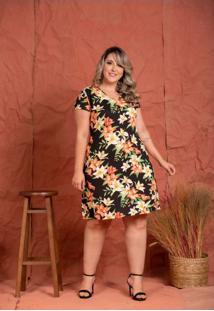 Vestido Basico Viscolycra Floral Black Plus Size