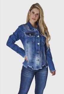 Jaqueta Jeans Hno Jeans Azul - Feminino-Azul