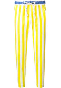 Mira Mikati Striped Drawstring Surfer Trousers - Branco